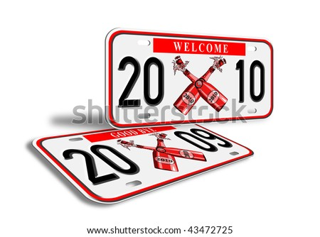 illustration of a car license plate with new year 2010 and old plates 2009 - stock photo