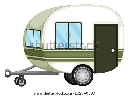 Illustration of a caravan on white - EPS VECTOR format also available in my portfolio. - stock photo