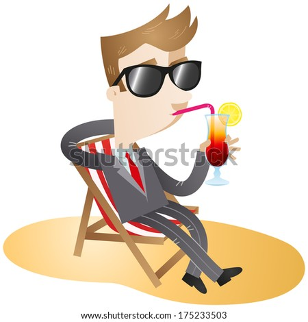 Illustration of a cartoon businessman with sunglasses sipping his cocktail and sitting in canvas chair on the beach (Vector version also available in my gallery).