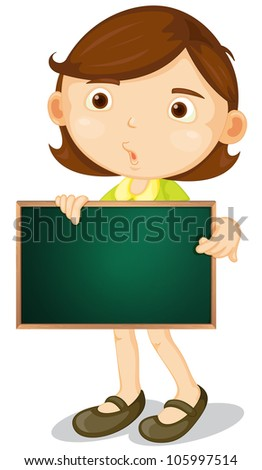 Illustration of a cartoon character holding a blank board