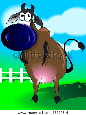 Illustration of a  cartoon cow standing in the backyard