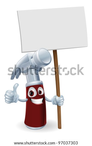 Illustration of a cartoon hammer man holding up a sign