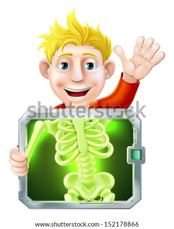 Illustration of a cartoon man or bay getting a medical x ray and waving with his hand