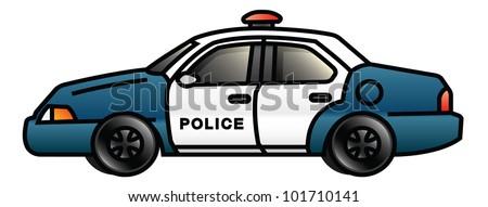 Illustration of a cartoon police car. Raster.