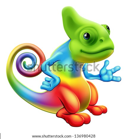 Illustration of a cartoon rainbow chameleon mascot standing with his hand out