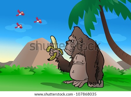 illustration of a cartoon silver back gorilla observe banana and ready to eat it on nature background