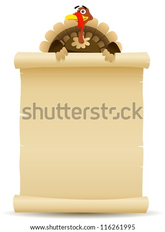 Illustration of a cartoon turkey character holding parchment scroll menu for thanksgiving holidays and white meat food background