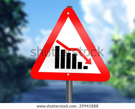 Illustration of a chart on a signpost showing a downward trend