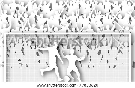 Illustration of a cheering crowd watching a penalty kick in a soccer match with drop shadows