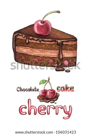 Illustration of a cherry cake isolated on white
