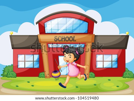 Illustration of a chinese girl in front of a school - EPS VECTOR format also available in my portfolio.