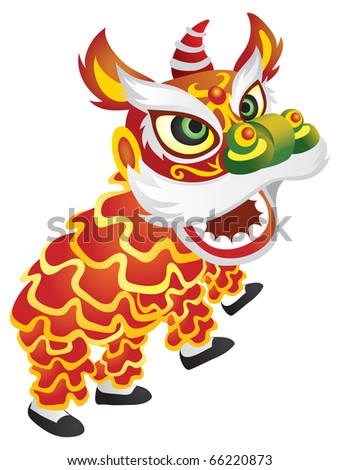 Illustration of a chinese lion dance performance - raster version.