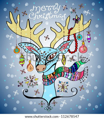 illustration of a christmas deer with a colorful scarf and decoration, beautiful background