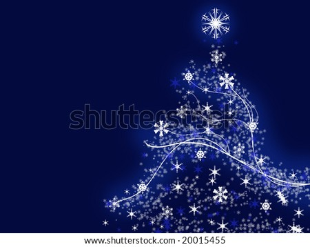 Illustration of a christmas tree over the blue background