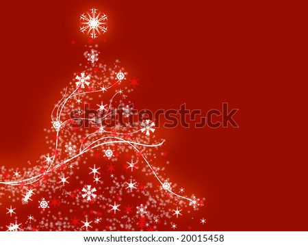 Illustration of a christmas tree over the red background