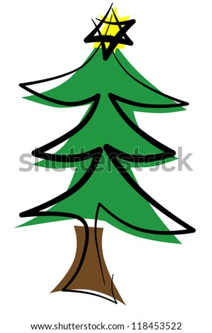 illustration of a christmas tree with a christmas star in the top