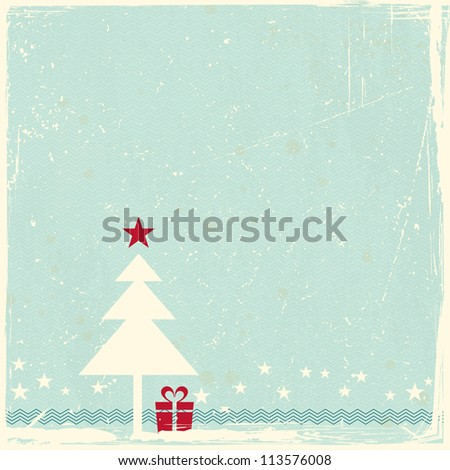 Illustration of a Christmas tree with red star topper on pale blue grunge background. Space for your copy.