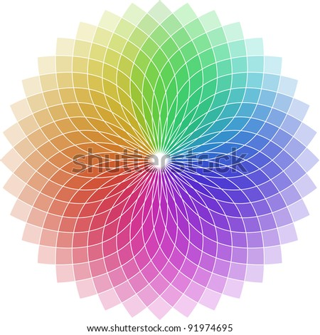 illustration of a chromatic circle shaped as a flower