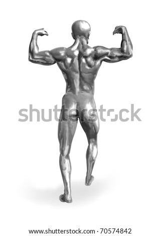 Illustration of a chrome man with muscular body