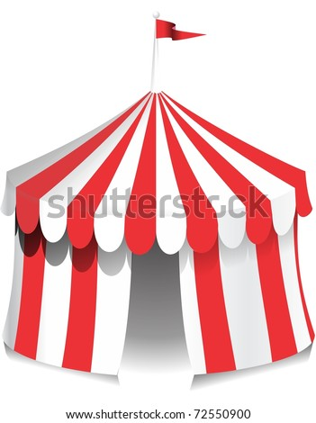 Illustration of a circus tent with red stripes.  Ideal for carnival signs