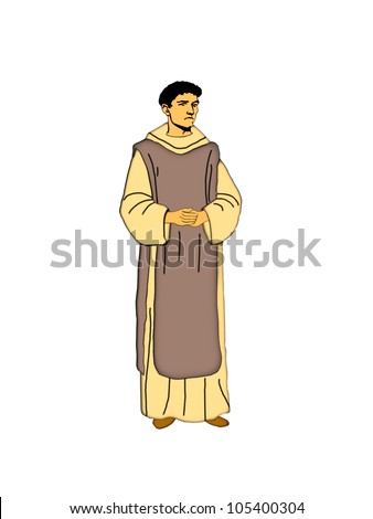 Illustration of a Cistercian monk on a white background.