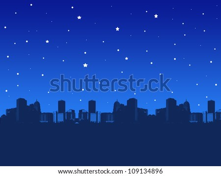 illustration of a city at night