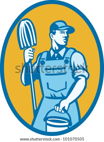Illustration of a cleaner worker carrying cleaning mop and pail set inside ellipse done in retro style.