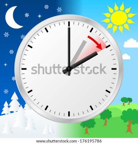 illustration of a clock switch to summer time  Stock fotó ©