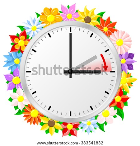 illustration of a clock switch to summer time  daylight saving time begins Stock fotó ©