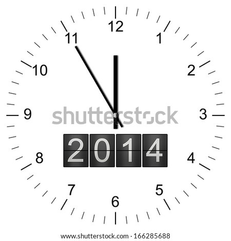 Illustration of a Clock with year 2014 announcement showing 11:55 isolated on white background