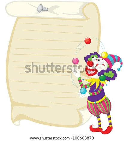 Illustration of a clown and paper - EPS VECTOR format also available in my portfolio.
