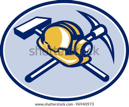 Illustration of a coal miner's hardhat with crossed pick axe and sledge hammer set inside ellipse done in retro style.