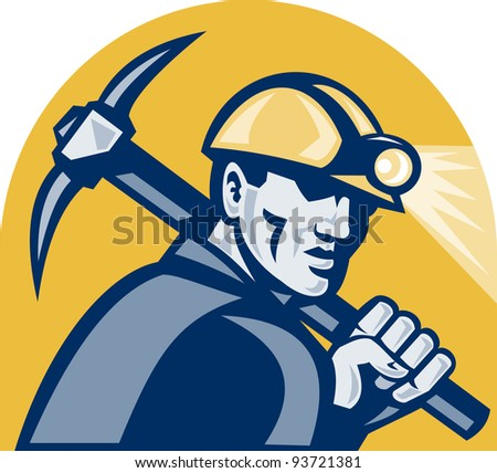 illustration of a coal miner working with pickaxe viewed from the side looking front isolated white background done in retro woodcut style.