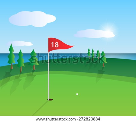 Illustration of a colorful golf course design.