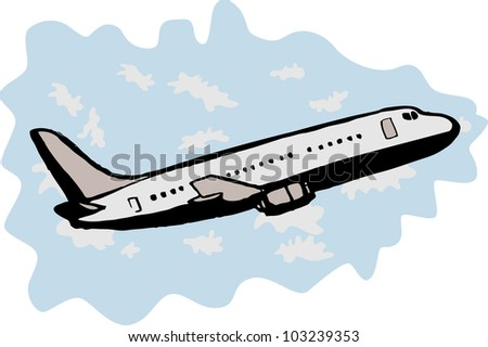 illustration of a commercial passenger jumbo jet airplane taking off