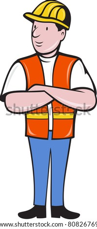 illustration of a construction worker wearing hard hat and safety vest with arms folded standing front on isolated background done in cartoon style - stock photo