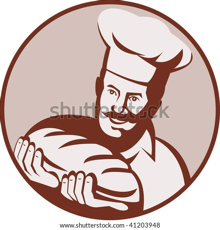 illustration of a cook,chef or baker holding a loaf of bread