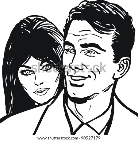 Illustration of a couple in love
