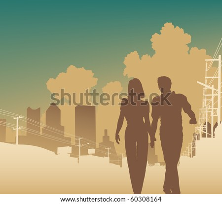 Illustration of a couple walking along an urban street