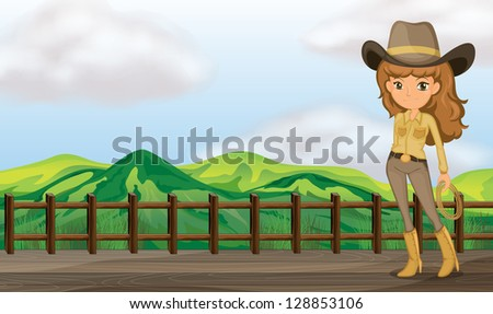 Illustration of a cowgirl in the bridge