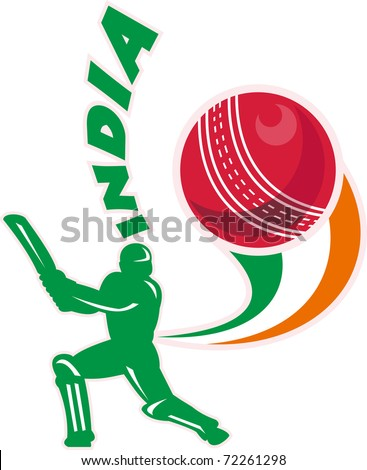 "illustration of a cricket batsman silhouette batting front view with ball in background done in retro style with words ""India"""