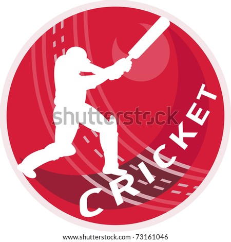 illustration of a cricket player batsman silhouette batting  ball done in retro style on isolated white background - stock photo