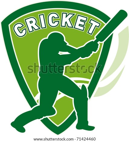 illustration of a cricket sports player batsman silhouette batting set inside shield