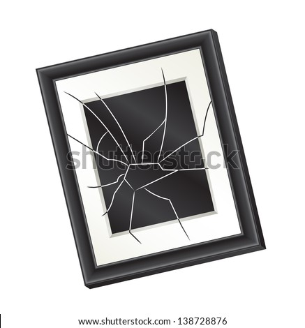 Illustration of a crooked broken picture frame hanging on a wall. Domestic abuse concept. Raster,
