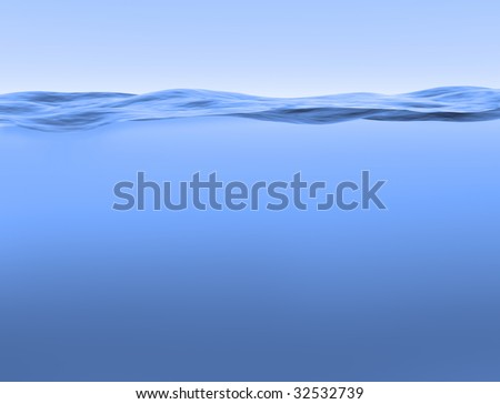 Illustration of a cross section of blue water and sky