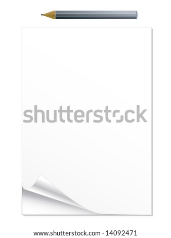 Illustration of a curled peel notepad with pencil.