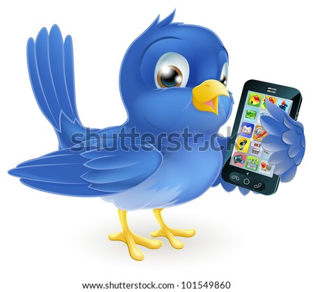 Illustration of a cute happy bluebird holding a mobile cell phone