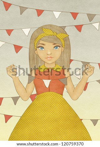 Illustration of a cute party girl. Card template.