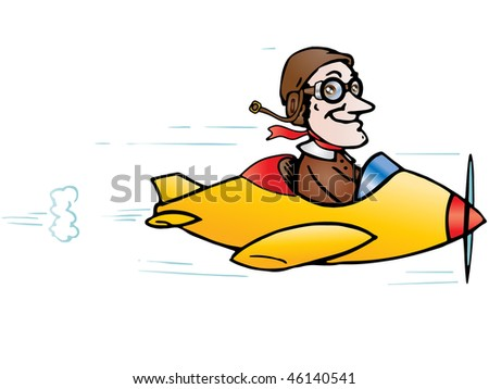 Illustration of a cute plane flying steering by a pilot