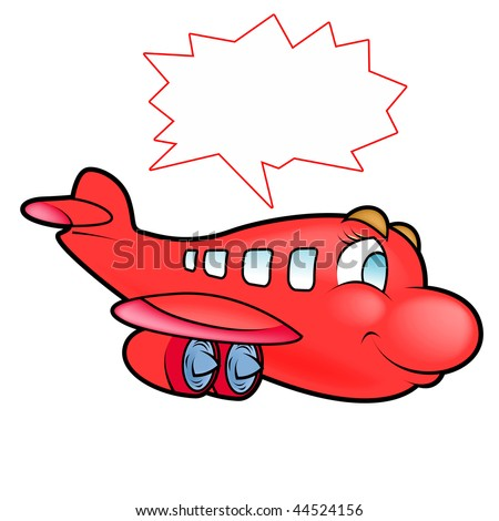 Illustration of a cute plane shouting Plane flying away to destination - stock photo